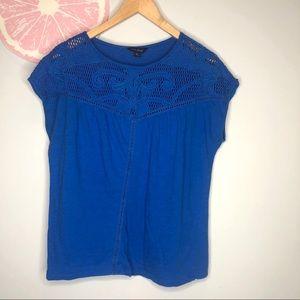 Lucky brand cobalt blue crocheted lace cap sleeve